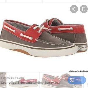 Men's Sperry Top-sider halyard choc/red boat shoes